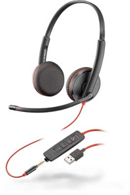 Plantronics Blackwire C3225 Stereo 3.5mm/USB-A Headset